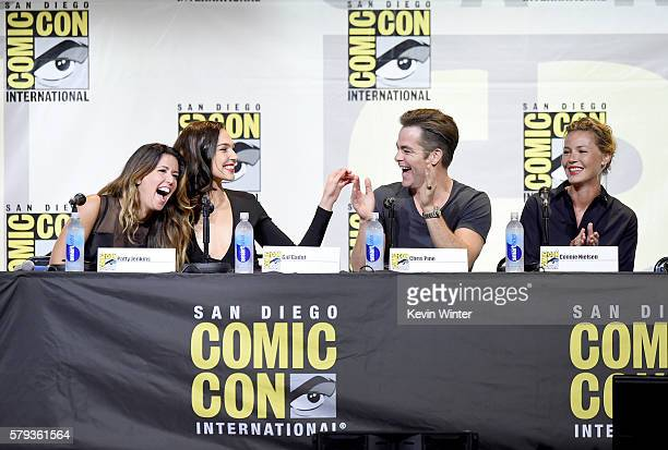 Director Patty Jenkins actors Gal Gadot Chris Pine and Connie Nielsen attend the Warner Bros Presentation during ComicCon International 2016 at San...