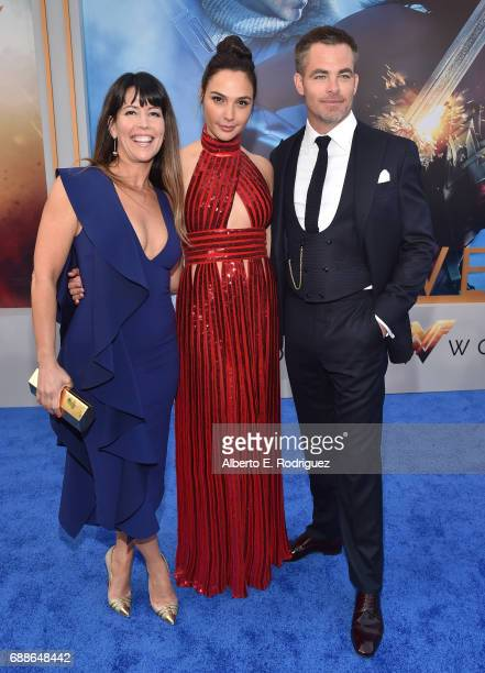 Director Patty Jenkins actress Gal Gadot and actor Chris Pine attend the premiere of Warner Bros Pictures' 'Wonder Woman' at the Pantages Theatre on...