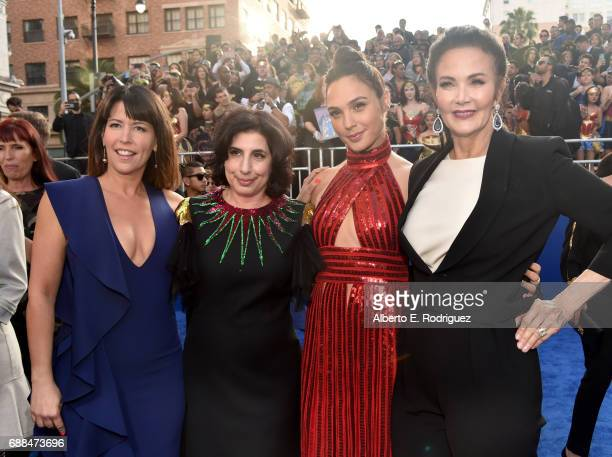 Director Patty Jenkins President Worldwide Marketing and Distribution for Warner Bros Pictures Sue Kroll and actors Gal Gadot and Lynda Carter attend...