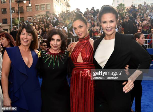 Director Patty Jenkins Sue Kroll President Worldwide Marketing and Distribution Warner Bros Pictures actress Gal Gadot and actress Lynda Carter...
