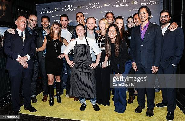 Director Paul Edwards chef April Bloomfield and actress Anna Camp with the cast of Saints Strangers attend the National Geographic Channel's Saints...