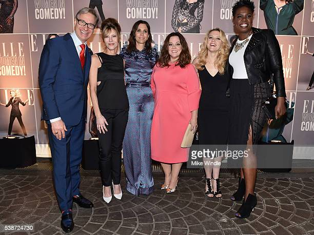 Director Paul Feig ELLE editorinchief Robbie Myers and actors Kristen Wiig Melissa McCarthy Kate McKinnon and Leslie Jones attend ELLE Women In...