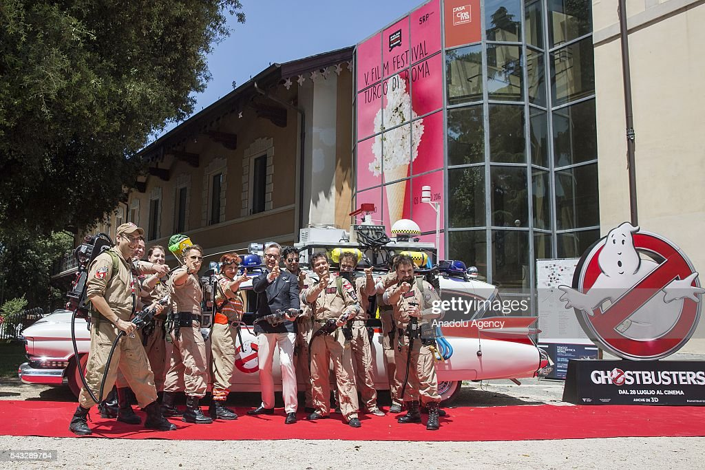 Director Paul Feig poses with walk-on ghostbusters during 'GHOSTBUSTERS' photocall at the House of Cinema Villa Borghese on June 27, 2016 in Rome, Italy.