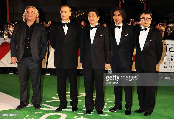 Director Paul Greengrass actor Tom Hanks Japanese prime minister Shinzo Abe actor Koji Yakusho and director Koki Mitani attend the 26th Tokyo...