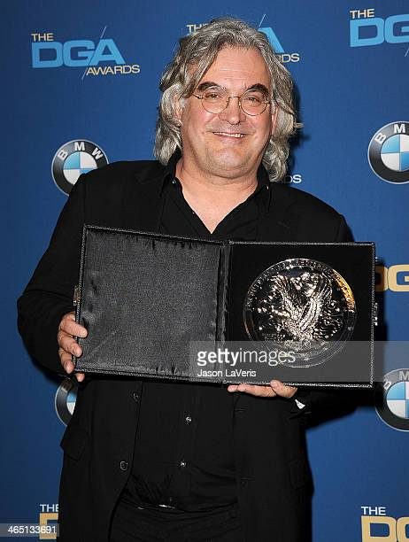 Director Paul Greengrass poses in the press room at the 66th annual Directors Guild of America Awards at the Hyatt Regency Century Plaza on January...