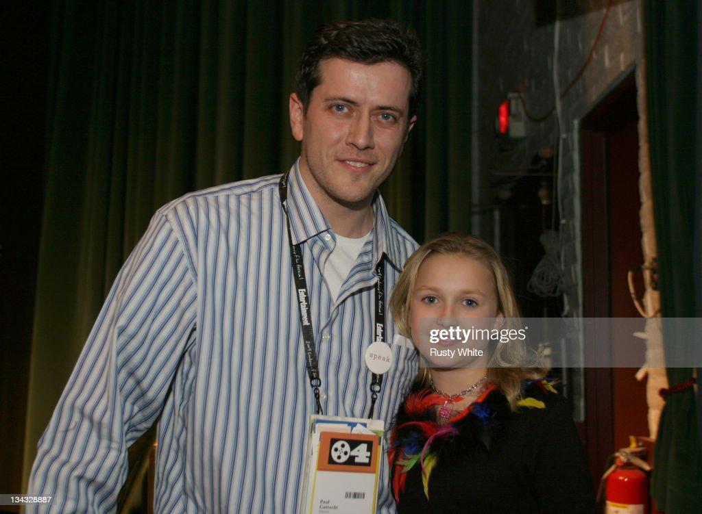 Director Paul Gutrecht with Skye McCole Bartusiak during 2004 Sundance Film Festival 'The Vest' Premiere at Prospector in Park City Utah United States