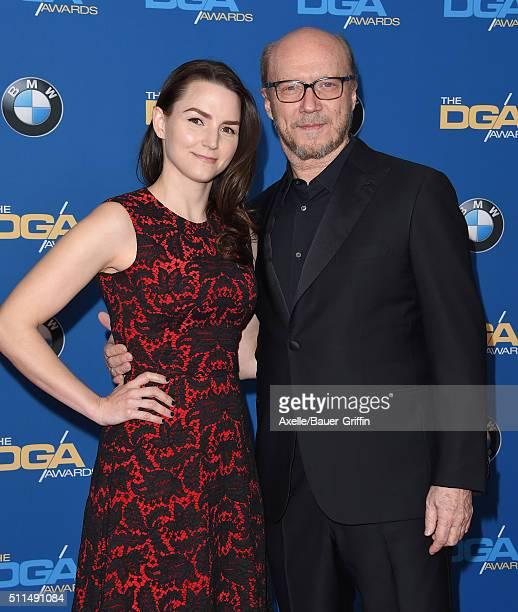 Director Paul Haggis and daughter Lauren Haggis arrive at the 68th Annual Directors Guild of America Awards at the Hyatt Regency Century Plaza on...