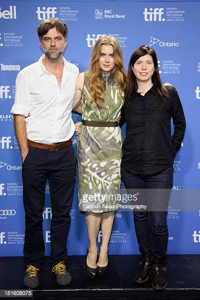 Director Paul Thomas Anderson actress Amy Adams and producer JoAnne Sellar attend Master' press conference during the 2012 Toronto International Film...