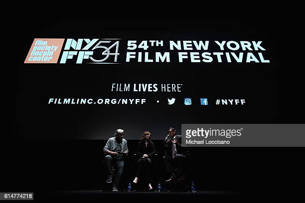Director Paul Verhoven actress Isabelle Huppert and Film Society of Lincoln Center Director of Programming Dennis Lim take part in a QA following the...
