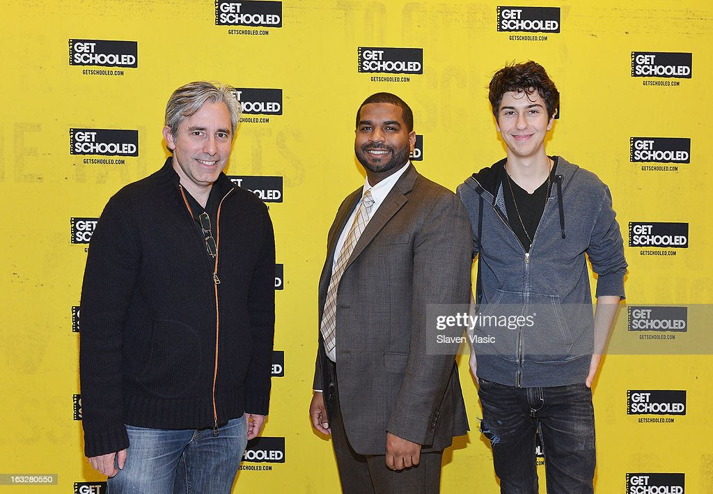 Director Paul Weitz, Validus Prep's principal Javier Ocampo and actor Nat Wolff attend a sneak peek preview screening of 'Admission' at Vilidus Prep on March 6, 2013 in the Bronx borough of New York City.
