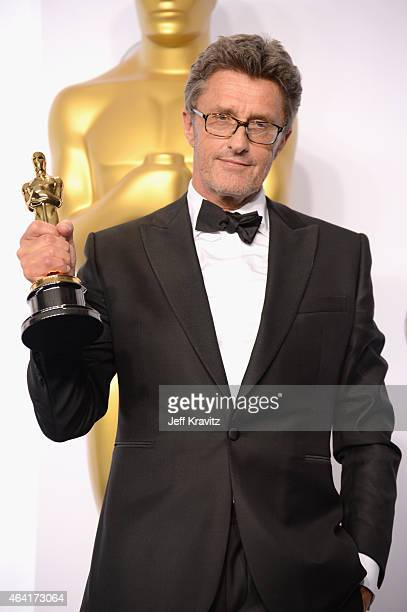 Director Pawel Pawlikowski with the award for best foreign language film for 'Ida' poses in the press room during the 87th Annual Academy Awards at...