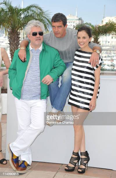 Director Pedro Almodovar actor Antonio Banderas and actress Elena Anaya attend 'The Skin I Live In' Photocall during the 64th Cannes Film Festival at...