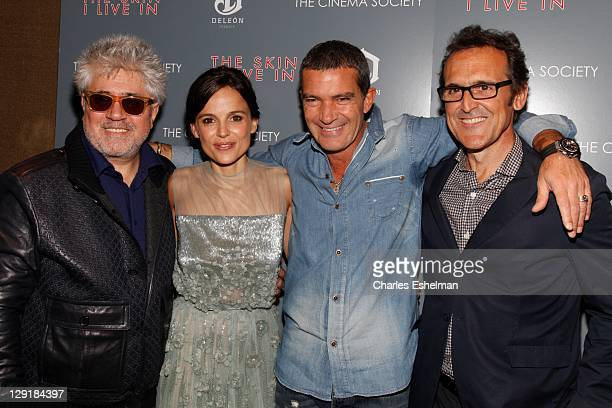 Director Pedro Almodovar actors Elena Anaya Antonio Banderas and composer Alberto Iglesias attend The Cinema Society DeLeon Tequila screening of 'The...