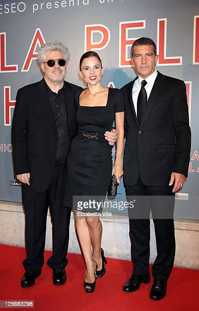 Director Pedro Almodovar actress Elena Anaya and actor Antonio Banderas attend 'The Skin I Live In' premiere at Embassy Cinema on September 20 2011...