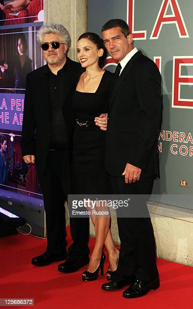 Director Pedro Almodovar actress Elena Anaya and actor Antonio Banderas attend the 'The Skin I Live' premiere at Embassy Cinema on September 20 2011...
