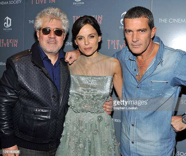 Director Pedro Almodovar actress Elena Anaya and actor Antonio Banderas attend the Cinema Society DeLeon Tequila screening of 'The Skin I Live In' at...