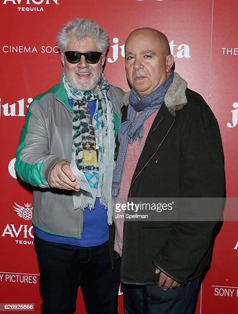 Director Pedro Almodovar and brother Agustin Almodovar attends the screening of Sony Pictures Classics' 'Julieta' hosted by The Cinema Society with...