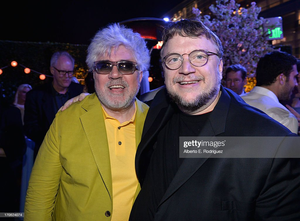 Director Pedro Almodovar and filmmaker Guillermo del Toro attend the after party for the 2013 Los Angeles Film Festival Opening Night Gala Premiere...