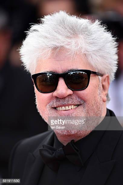 Director Pedro Almodovar attends the 'Julieta' premiere during the 69th annual Cannes Film Festival at the Palais des Festivals on May 17 2016 in...
