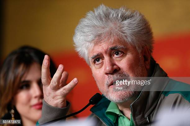 Director Pedro Almodovar attends the 'Julieta' press conference during the 69th annual Cannes Film Festival at the Palais des Festivals on May 17...