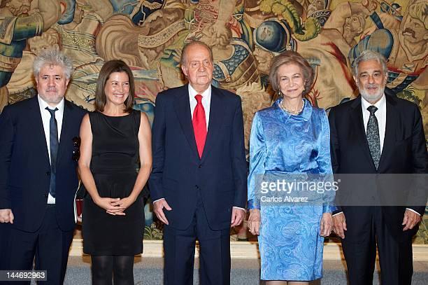 Director Pedro Almodovar Flamenco dancer Sara Baras King Juan Carlos of Spain Queen Sofia of Spain and Tenor Placido Domingo attend 'Fine Arts Golden...