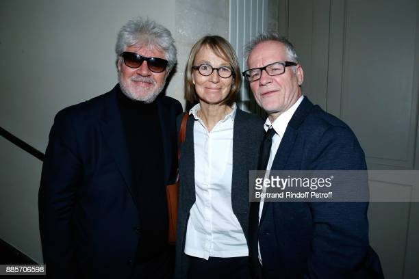 Director Pedro Almodovar French Ministre of Culture Francoise Nyssen and General Delegate of the Cannes Film Festival Thierry Fremaux attend the...