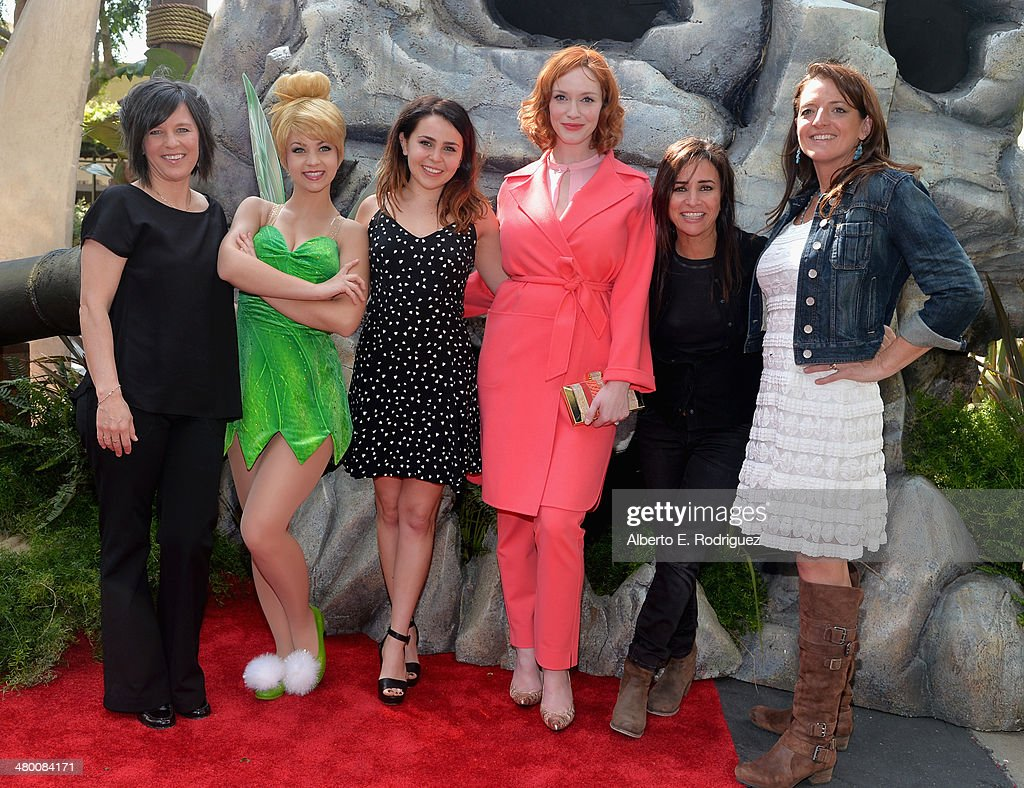 Director Peggy Holmes, Tinker Bell, voice actors <a gi-track='captionPersonalityLinkClicked' href=/galleries/search?phrase=Mae+Whitman&family=editorial&specificpeople=614218 ng-click='$event.stopPropagation()'>Mae Whitman</a>, <a gi-track='captionPersonalityLinkClicked' href=/galleries/search?phrase=Christina+Hendricks&family=editorial&specificpeople=2239736 ng-click='$event.stopPropagation()'>Christina Hendricks</a>, Pamela Adlon and producer Jenni Magee Cook attend Disney's 'The Pirate Fairy' World Premiere at Walt Disney Studios on March 22, 2014 in Burbank, California. On Blu-ray and Digital HD April 1.