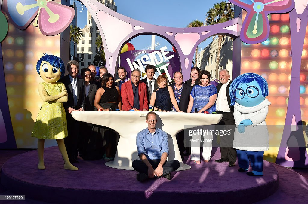 Director Pete Docter and the cast of 'Inside Out' attend the Los Angeles premiere of DisneyPixar's 'Inside Out' at the El Capitan Theatre on June 8...