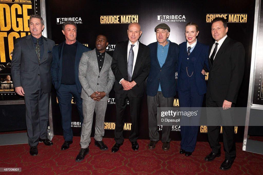 Director Pete Segal Sylvester Stallone Kevin Hart Alan Arkin Robert De Niro Kim Basinger and producer Bill Gerber attend the 'Grudge Match' screening...