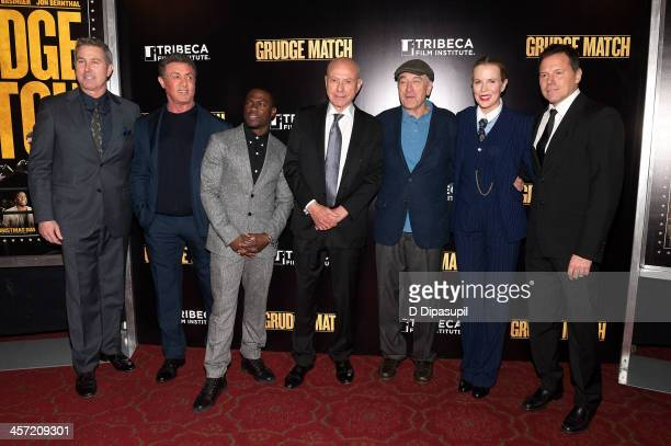 Director Pete Segal Sylvester Stallone Kevin Hart Alan Arkin Robert De Niro Kim Basinger and producer Bill Gerber attend the 'Grudge Match' screening...
