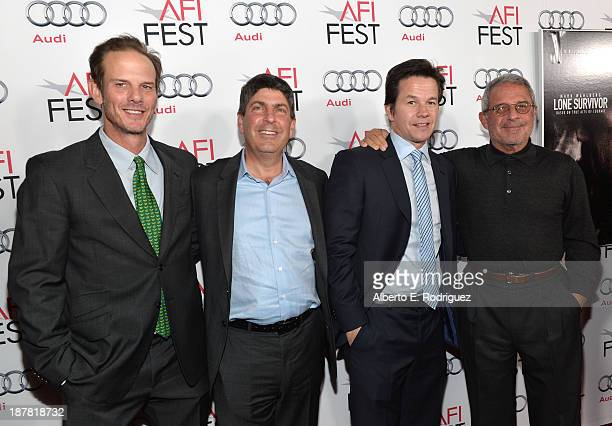 Director Peter Berg Chairman of Universal Filmed Entertainment Jeff Shell actor Mark Wahlberg and Ron Meyer ViceChairman NBCUniversa attend the...