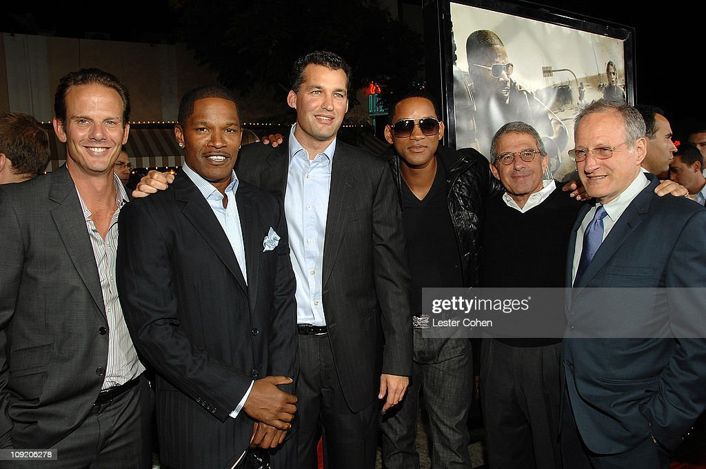 Director Peter Berg Jamie Foxx producer Scott Stuber Will Smith Universal's Ron Meyer and producer Michael Mann arrives at the Mann's Village Theatre...