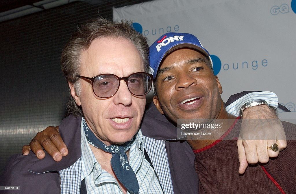 Director Peter Bogdanovich and actor David Alan Grier arrive at the launch of the book 'Who's Sorry Now' by Joe Pantoliano at the GQ Lounge September 28, 2002, in New York City.