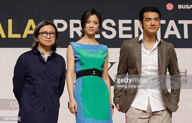 Director Peter Chan actress Tang Wei and actor Takeshi Kanashiro attend at the Gala Presentation 'Wu Xia press conference at Shinsegae Centum city...