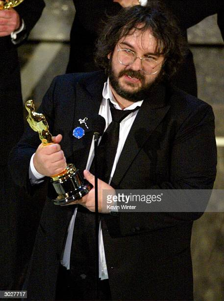 Director Peter Jackson accepts his award for Best Director the movie 'The Lord of the Rings The Return of the King' at the 76th Annual Academy Awards...