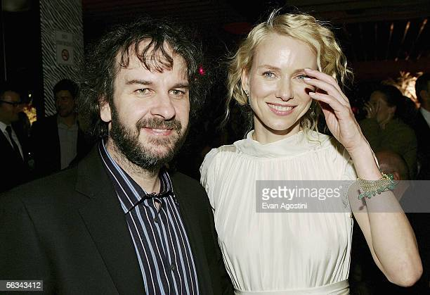 Director Peter Jackson and actress Naomi Watts attend the 'King Kong' world premiere after party at Pier 92 December 05 2005 in New York City
