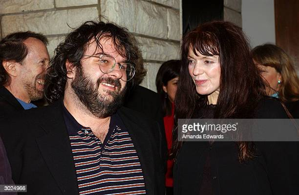Director Peter Jackson and composer Fran Walsh attend the champagne reception honoring the Academy Award Music Nominees on February 28 2004 at the...