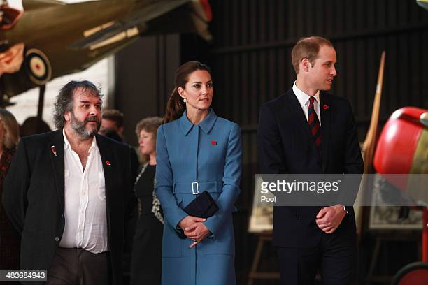 Director Peter Jackson Catherine Duchess of Cambridge and Prince William Duke of Cambridge tour the Omaka Aviation Heritage Centre on Day 4 of a...