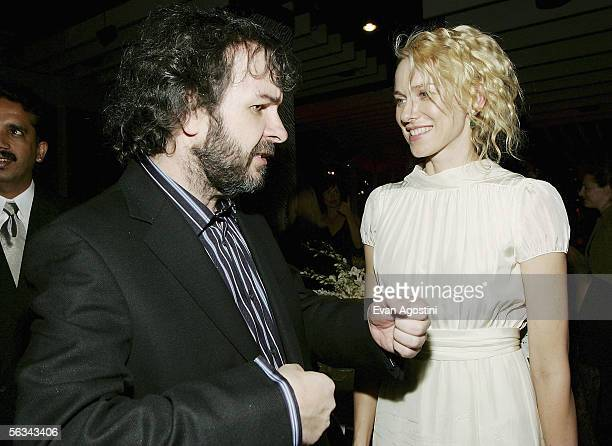 Director Peter Jackson chats with actress Naomi Watts at the 'King Kong' world premiere after party at Pier 92 December 05 2005 in New York City