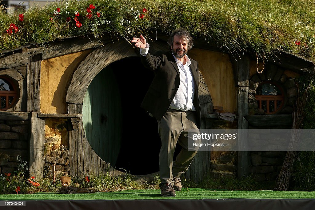 Director <a gi-track='captionPersonalityLinkClicked' href=/galleries/search?phrase=Peter+Jackson+-+Filmmaker&family=editorial&specificpeople=203018 ng-click='$event.stopPropagation()'>Peter Jackson</a> emerges from from a Hobbit house before delivering a speech at the 'The Hobbit: An Unexpected Journey' World Premiere at Embassy Theatre on November 28, 2012 in Wellington, New Zealand.