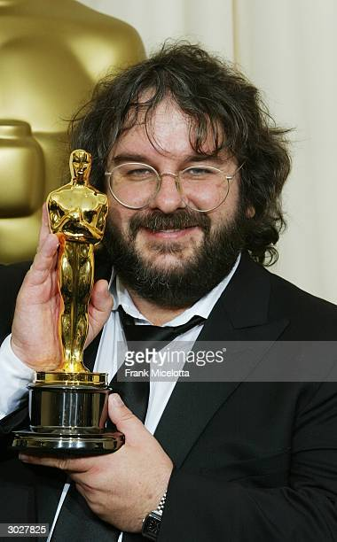 Director Peter Jackson poses with his Oscar for Best Director during the 76th Annual Academy Awards at the Kodak Theater on February 29 2004 in...