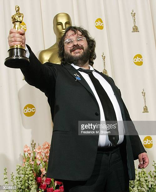 Director Peter Jackson poses withhis Oscar for Best Director during the 76th Annual Academy Awards at the Kodak Theater on February 29 2004 in...
