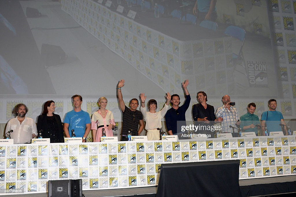 Director <a gi-track='captionPersonalityLinkClicked' href=/galleries/search?phrase=Peter+Jackson+-+Filmmaker&family=editorial&specificpeople=203018 ng-click='$event.stopPropagation()'>Peter Jackson</a>, screenwriter Philippa Boyens, actors <a gi-track='captionPersonalityLinkClicked' href=/galleries/search?phrase=Benedict+Cumberbatch&family=editorial&specificpeople=2487879 ng-click='$event.stopPropagation()'>Benedict Cumberbatch</a>, <a gi-track='captionPersonalityLinkClicked' href=/galleries/search?phrase=Cate+Blanchett&family=editorial&specificpeople=201621 ng-click='$event.stopPropagation()'>Cate Blanchett</a>, <a gi-track='captionPersonalityLinkClicked' href=/galleries/search?phrase=Orlando+Bloom&family=editorial&specificpeople=202520 ng-click='$event.stopPropagation()'>Orlando Bloom</a>, <a gi-track='captionPersonalityLinkClicked' href=/galleries/search?phrase=Evangeline+Lilly&family=editorial&specificpeople=228168 ng-click='$event.stopPropagation()'>Evangeline Lilly</a>, Luke Evans, <a gi-track='captionPersonalityLinkClicked' href=/galleries/search?phrase=Lee+Pace&family=editorial&specificpeople=228993 ng-click='$event.stopPropagation()'>Lee Pace</a>, <a gi-track='captionPersonalityLinkClicked' href=/galleries/search?phrase=Graham+McTavish&family=editorial&specificpeople=4509837 ng-click='$event.stopPropagation()'>Graham McTavish</a>, <a gi-track='captionPersonalityLinkClicked' href=/galleries/search?phrase=Elijah+Wood&family=editorial&specificpeople=171364 ng-click='$event.stopPropagation()'>Elijah Wood</a>, and <a gi-track='captionPersonalityLinkClicked' href=/galleries/search?phrase=Andy+Serkis&family=editorial&specificpeople=210893 ng-click='$event.stopPropagation()'>Andy Serkis</a> attend the Legendary Pictures preview and panel during Comic-Con International 2014 at San Diego Convention Center on July 26, 2014 in San Diego, California.