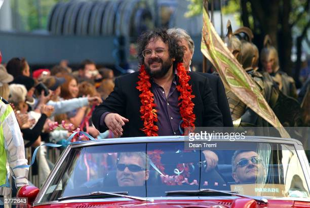Director Peter Jackson smiles during a parade through the Wellington streets prior to the World Premiere of 'Lord of the Rings Return of the King'...