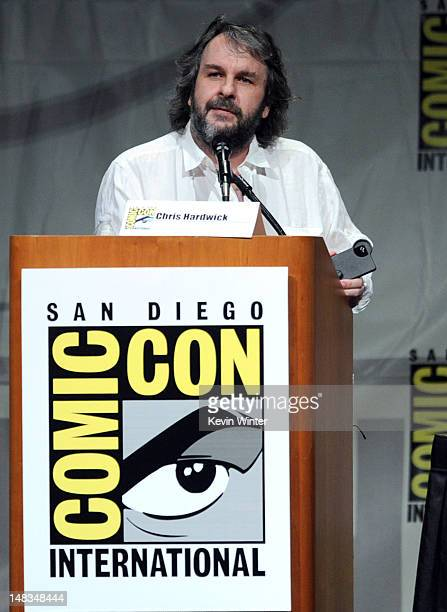 Director Peter Jackson speaks at Warner Bros Pictures and Legendary Pictures Preview of 'The Hobbit An Unexpected Journey' during ComicCon...
