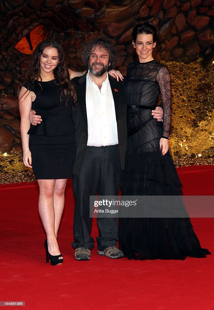 Director <a gi-track='captionPersonalityLinkClicked' href=/galleries/search?phrase=Peter+Jackson+-+Filmmaker&family=editorial&specificpeople=203018 ng-click='$event.stopPropagation()'>Peter Jackson</a> with his daughter <a gi-track='captionPersonalityLinkClicked' href=/galleries/search?phrase=Katie+Jackson&family=editorial&specificpeople=4448358 ng-click='$event.stopPropagation()'>Katie Jackson</a> (L) and actress <a gi-track='captionPersonalityLinkClicked' href=/galleries/search?phrase=Evangeline+Lilly&family=editorial&specificpeople=228168 ng-click='$event.stopPropagation()'>Evangeline Lilly</a> attend the 'The Hobbit: The Desolation of Smaug' European Premiere at Cinestar on December 9, 2013 in Berlin, Germany.