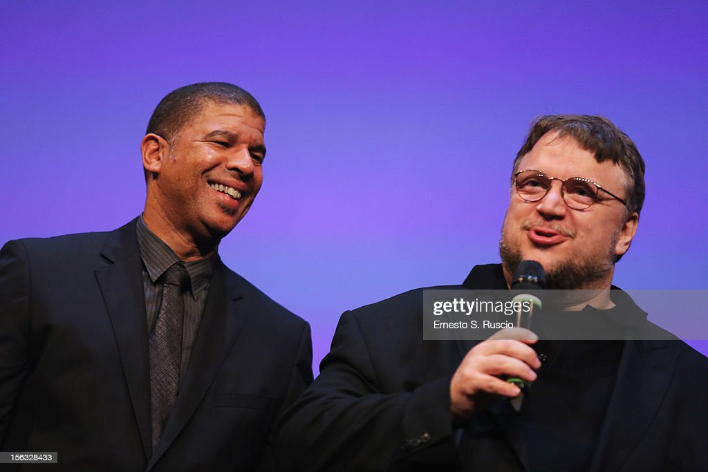 Director Peter Ramsey and executive producer Guillermo del Toro attend the Vanity Fair International Award for Cinematic Excellence presentation at the 7th Rome Film Festival on November 13, 2012 in Rome, Italy.