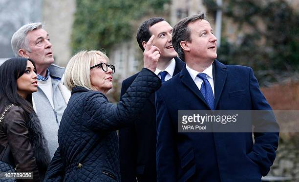 Director Peter Rose Trudie Goodwin Chancellor Of The Exchequer George Osborne and Prime Minister David Cameron during a visit to the set of...