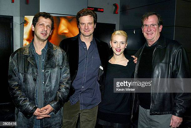 Director Peter Webber actor Colin Firth actress Scarlett Johansson and Variety's Pete Hammond arrive at Variety's Screening Series 'Girl With A Pearl...