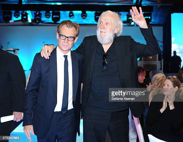 Director Philippe Vergne and honoree John Baldessari attend the 2015 MOCA Gala presented by Louis Vuitton at The Geffen Contemporary at MOCA on May...